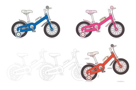 Set of kids bicycles, silhouette of small bikes isolated on white background, children toy, vector illustration