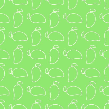 Seamless geometric pattern, outline of mango on light green background, stripes abstract template, vector illustration