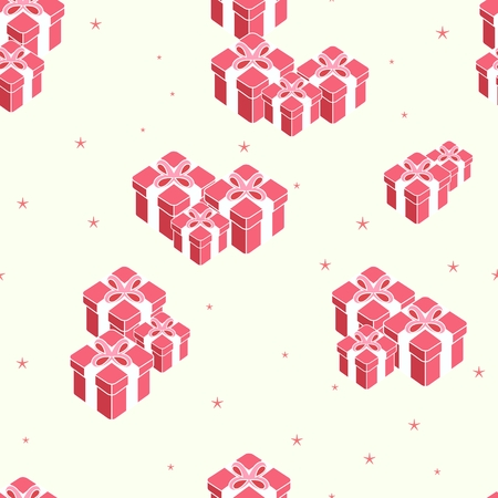 New year holidays seamless pattern, set of boxes gifts with red bow ribbon on white background, vector illustration