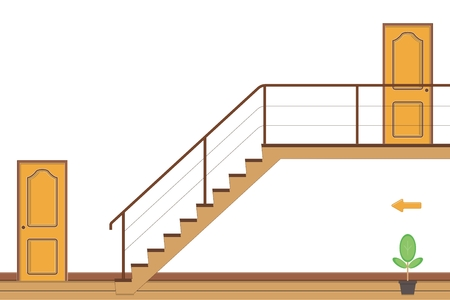 Interior bright room with stairs and two doors ,flat style vector illustration.