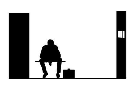 Black silhouette of a man sitting in jail, vector illustration Illustration