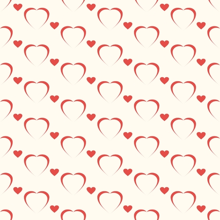 Seamless geometric pattern, red hart on white background, stripes abstract template, vector illustration
