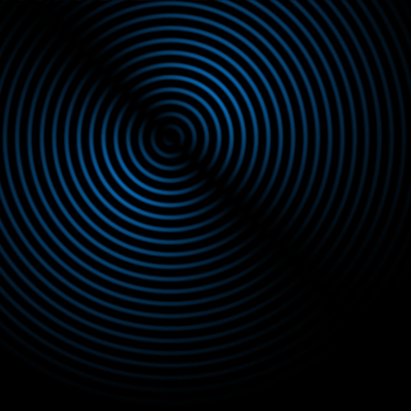 Abstract sound waves effect blue color on black background