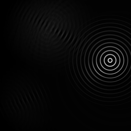 Abstract white sound effect on black background Imagens