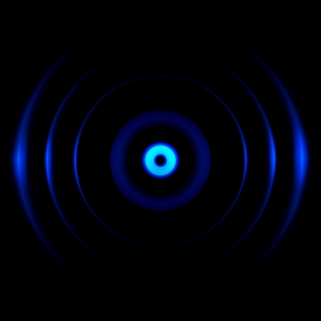 Abstract blue photo lens with aperture effect on black background