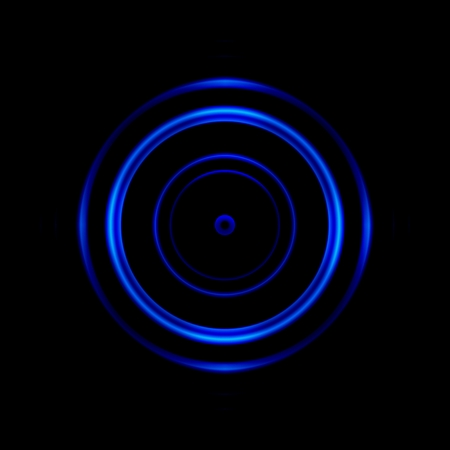 Abstract blue aperture lens on black background Stock Photo