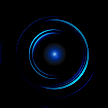 Abstract blue circural with eye reflections on black background