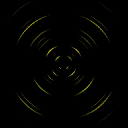 Abstract yellow wireless network symbol on black background