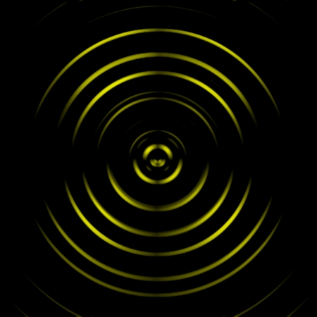 Yellow digital sound wave or circle signal, abstract background