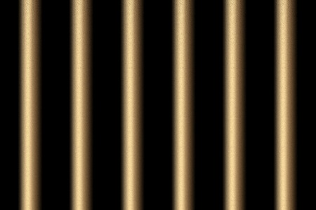 Copper prison bars on black background.