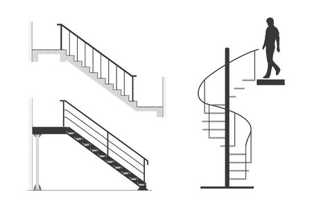 Satz Stahltreppe mit Schattenbild des Mannes gehen Wendeltreppe, Vektorillustration