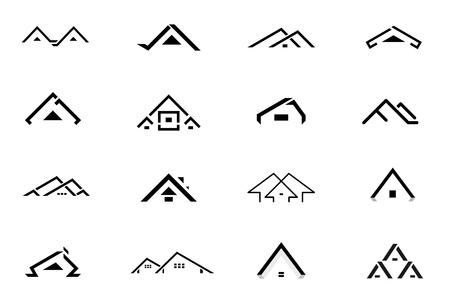 Set of black home logo design, vector illustration