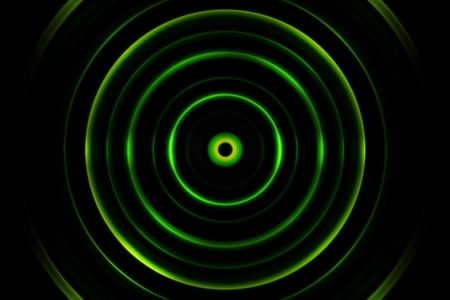 Green digital sound wave or circle signal, abstract background