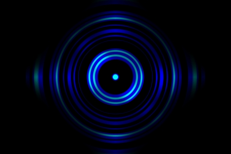 Sound waves oscillating blue light with circle spin abstract background