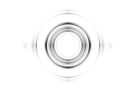 Abstract black rings sound waves effect on white background Imagens