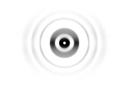 Abstract black circle sound waves oscillating on white background