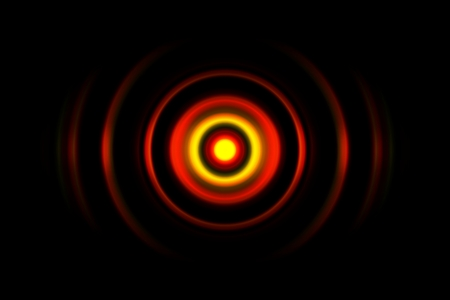 Red digital sound wave or circle signal, abstract background
