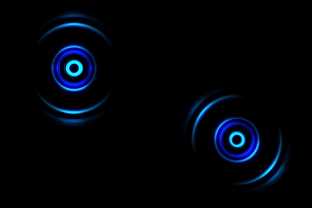 Abstract blue ring with sound waves oscillating background Stock Photo