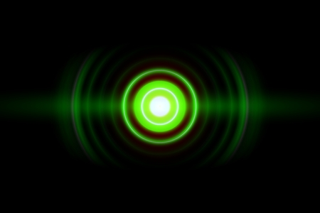Abstract green ring with sound waves oscillating, technology background Imagens