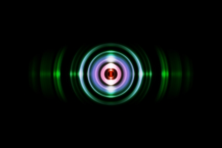 Abstract red ring with sound waves oscillating green light, technology background