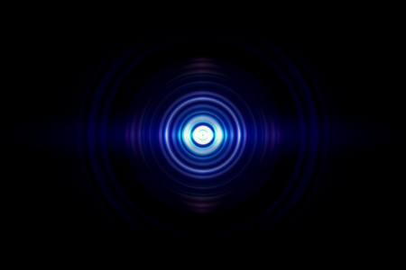 Abstract light blue circle with sound waves oscillating, technology background