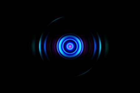 Abstract blue circle effect with sound waves oscillating, technology background