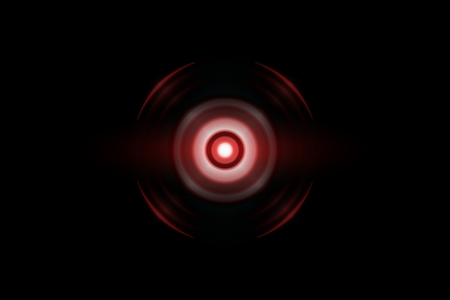 Abstract red circle effect with sound waves oscillating, technology background Reklamní fotografie