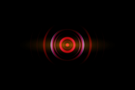 Abstract dark red spiral effect with sound waves oscillating, technology background
