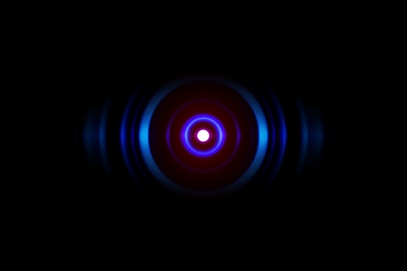 Abstract light blue spiral effect with sound waves oscillating, technology background