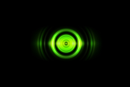 Abstract green spiral effect with sound waves oscillating, technology background