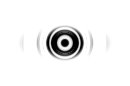 Abstract black eye effect with sound waves oscillating on white background