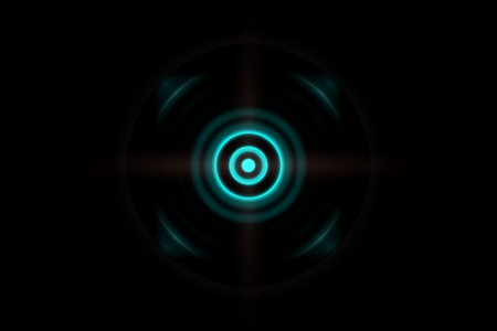 Abstract eye dark green effect with sound waves oscillating background Imagens