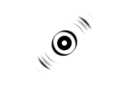 Abstract black and white eye effect with sound waves oscillating background