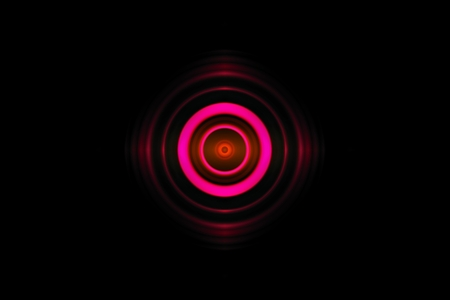 Abstract eye pink light effect with sound waves oscillating background Imagens