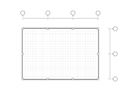 Top view, black and white outline drawing, blank house plan simple flat with line grid, vector illustration