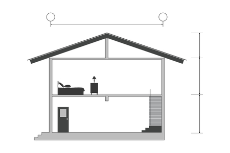 Cross section of silhouette modern house building with blank inside room, vector illustration