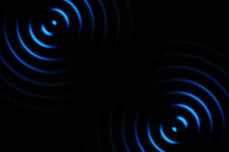 Light blue rings sound waves oscillating, abstract background