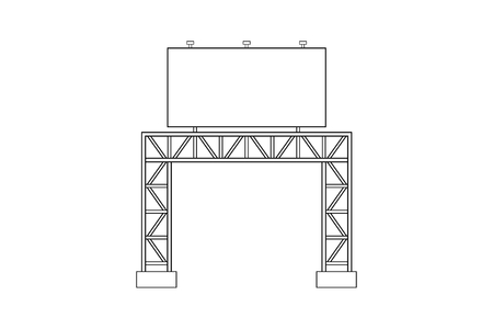 Abstract outline drawing, space frame structure of billboards vector illustration