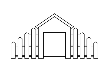 Abstract outline drawing, modern house with wooden fence vector illustration 向量圖像