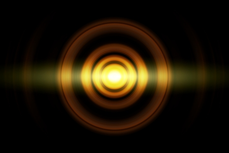 Abstract glowing circle orange light effect with sound waves oscillating background