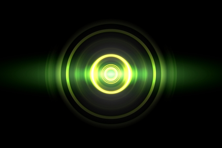 Abstract glowing circle green light effect with sound waves oscillating background