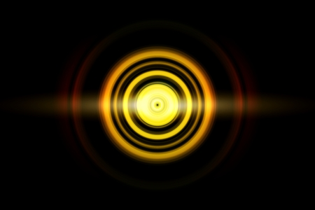 Abstract glowing circle blue light effect on black background