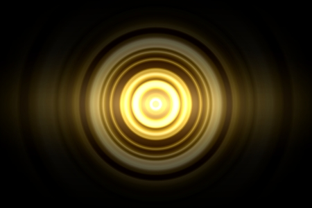 Abstract glowing circle yellow light effect with sound waves oscillating background Reklamní fotografie
