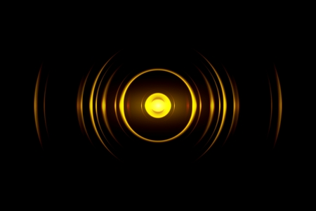 Abstract yellow ring with sound waves oscillating background