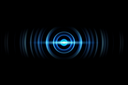 Abstract light blue ring with sound waves oscillating background Imagens