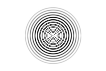 Abstract one black circle sound waves oscillating on white background