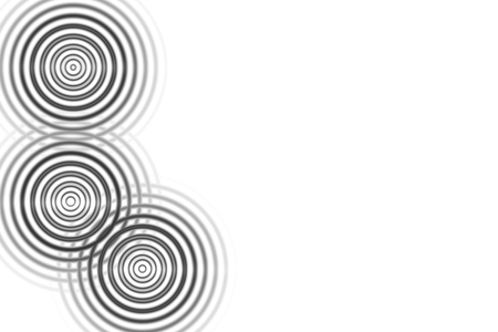 Abstract three black circle sound waves oscillating on white background
