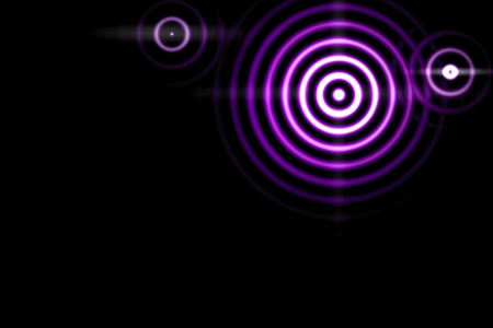 Abstract light background, purple sound waves oscillating with circle ring Imagens