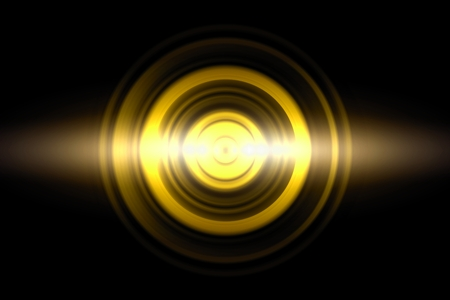 Sound waves oscillating golden light with circle spin, abstract background Imagens