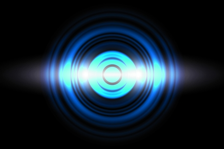 Sound waves oscillating blue light with circle spin, abstract background